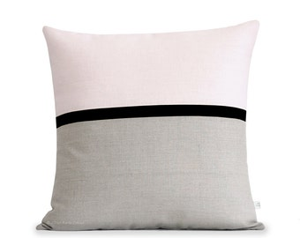 Blush Linen Horizon Line Pillow Cover with Black & Neutral Stripes by JillianReneDecor, Modern Home Decor, Colorblock, Pale Pink