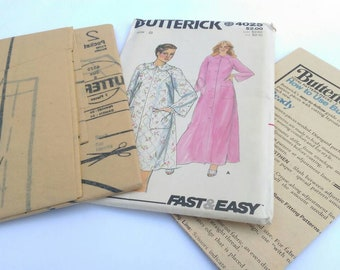 Butterick Paper Sewing Pattern 4025, UNCUT-Misses Long and Short Robe with Pockets, Size 8  Vintage, Ships Worldwide