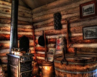 Rustic Decor, Midwest Art, Kitchen Decor, Home Decor, Inside an Old Log Cabin