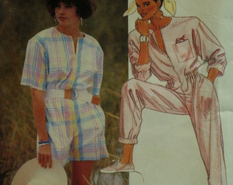 "Zipper Front Jumpsuit Pattern, Romper, Jewel Neck, Short/Long Sleeves, Blouson Waist, Side Pockets, McCalls No. 2921 UNCUT Size 8 Bust 31.5"""
