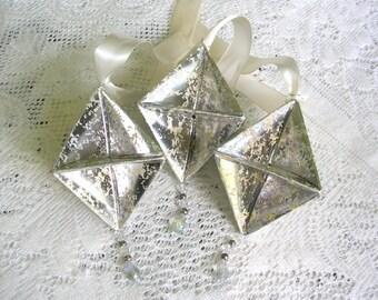 Silber Origami Ornamente - Quecksilber Papier Dekorationen - Weihnachtsschmuck Origami - Origami Weihnachtsschmuck aus Glas - Boho Schmuck