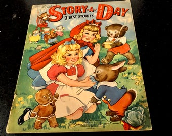Vintage A Story a Day, Linen Storybook, Three Bears, Three Little Kittens, Little Red Hen, Milo Winter, Merrill publishing, Copyright 1942