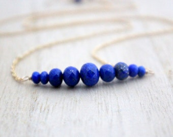 Lapis Lazuli Bar Necklace In Gold Filled, Graduated Cobalt Blue Natural AAA Gemstone Necklace , Rose Gold , Sterling Silver - Circlet