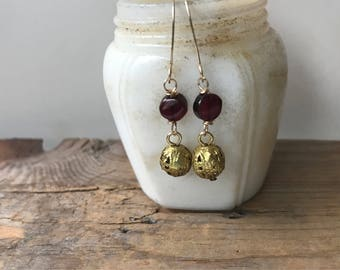 Garnet Filigree Ball Earrings Brass Art Nouveau January Birthstone Holiday Jewelry Gifts Under 40 Winter Weddings Bridesmaids