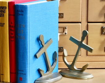 Vintage, Solis Brass Anchor Bookends