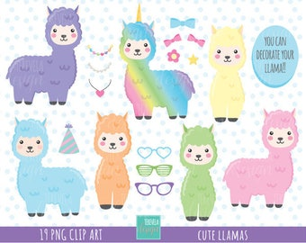 50% SALE Llama clipart, alpaca clipart, commercial use, kawaii clipart, animal clipart, lama graphics, kawaii llama, cute alpaca, accesories