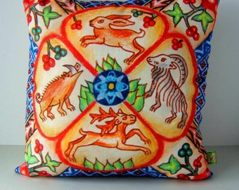 Medieval Animals Handmade Cushion Cover