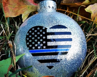 Thin blue line ornament, thin blue line, police gift, police wife, police Christmas ornament, Christmas ornament, glass ornaments
