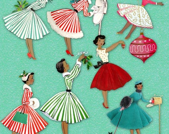 1950s  African American Retro Christmas Housewives   Vintage Holiday Ladies of Color   Digital Images Clipart