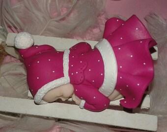 TO ORDER!  Baby fimo fuchsia sledge.  Christmas gift