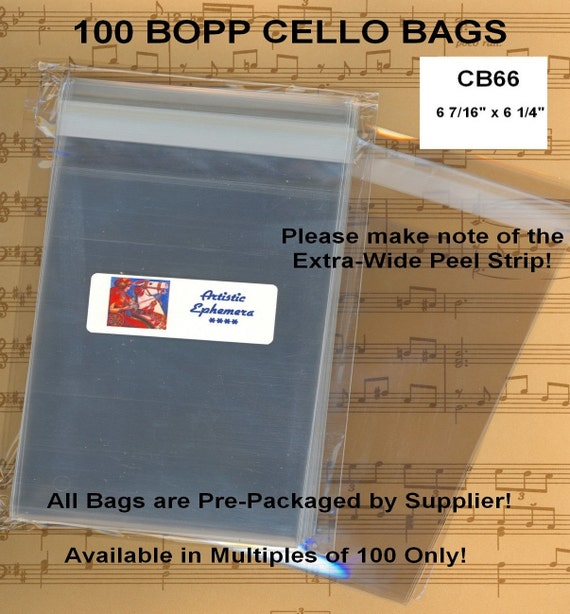"100 Flat Resealable Cello Bags - 6"" x 6"""