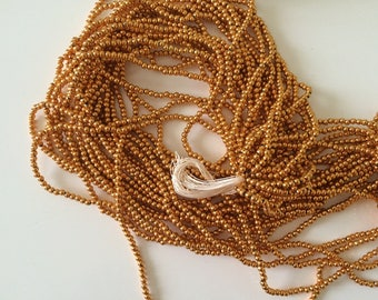 Bead 3 mm acrylic gold on wire 80 cm long