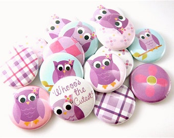 Owl Love in Purple - Flatback Buttons - Flat Back Cabochons - Owl Cabochons