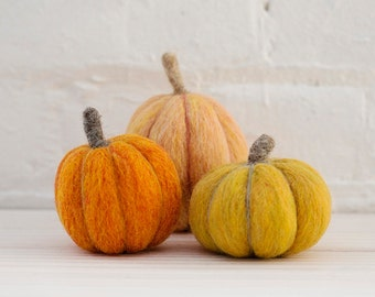 Pumpkins Needle Felting Kit by Felted Sky Studio Halloween Fall Autumn Wool Decoration DIY learn a new craft with video tutorial