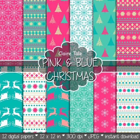 "Christmas digital paper: ""PINK & BLUE CHRISTMAS"" christmas backgrounds with deers, santa, snowflakes, christmas trees"