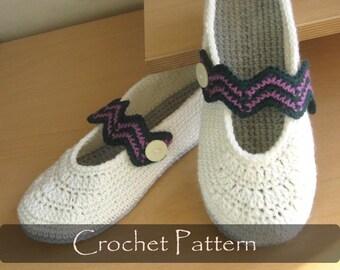 CROCHET PATTERN - Chevron Slippers Crochet Pattern Women Home Shoes Pattern Warm House Slippers Pattern Women Sizes 3-10 PDF - P0039