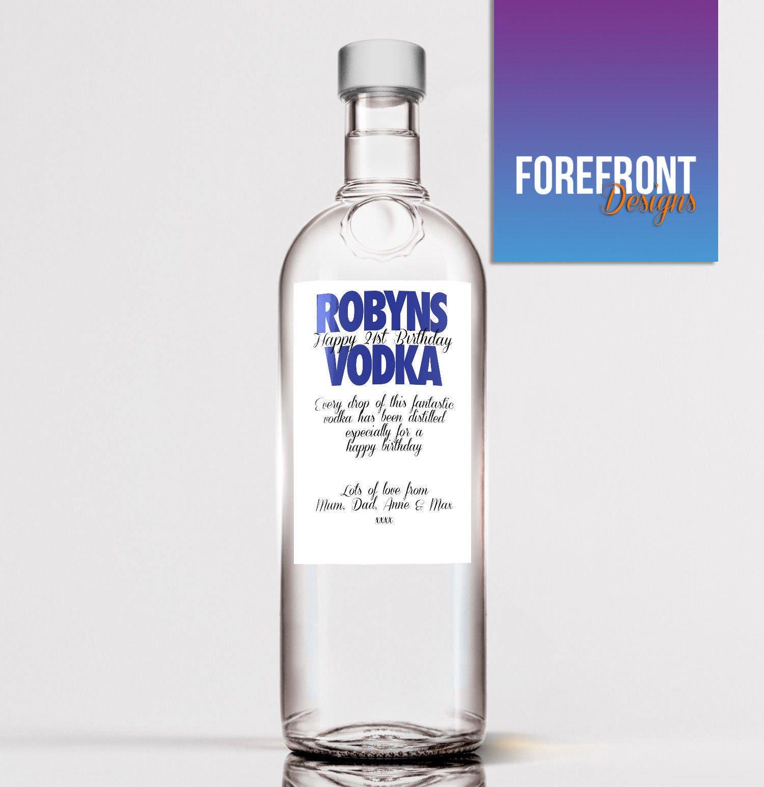 Personalisierte Vodka Flasche Label-Ideal Feier/Geburtstag /