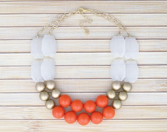 SALE!! Orange Gold White Chunky Beaded Statement Necklace - Ladies Fashion Two Layer Double Strand Necklace Jewelry -Sale Low Price Jewelry