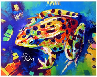 """Frog 2 - Original painting, one of a kind, animal, frog, colorful, traditional painting, acrylic, heavy paper 8.5""""x11"""""""