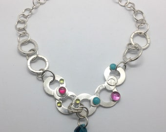 "JEWELRY: Handmade Sterling SILVER 16"" Chain NECKLACE With Teal Swarovski Crystal Element Accent -- Contemporary Metal Jewelry"