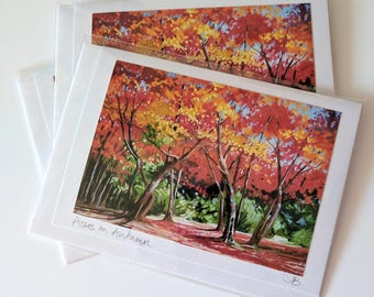 Acers in Autumn | greetings card | hand made | handmade | trees | autumn | acers | pastel | original painting card | art card | tracy butler