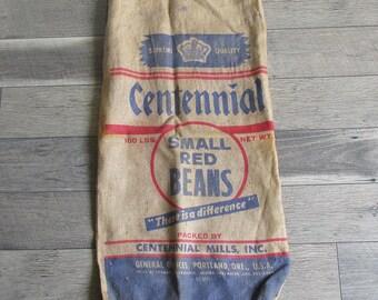 Vintage Centennial Bean Sack, Burlap Bag, Gunney Sack - Portland, Oregon