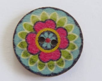 Blue and pink mandala style patterned wooden button