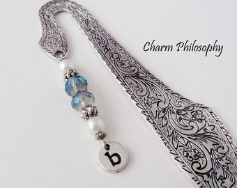 Initial Bookmark - Personalized Monogrammed Hand Stamped Initial - Unique Beaded Bookmark