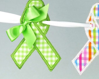 "Awareness Ribbon Banner In The Hoop Project Machine Embroidery Design Pattern 5 sizes 4"", 5"", 6"", 7"" and 8"" all done In-The-Hoop"