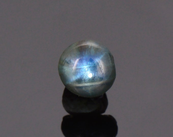 Nice Black and Blue Star Sapphire Cabochon from Thailand, 1.24 cts., 5.8x5.6 mm., Round Shape