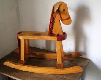 Wood and leather decor rocking horse
