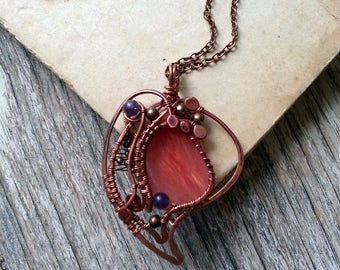 Wire Wrapped Pendant Copper necklace - Wire wrapped Jewelry Gift for her - Wire jewelry Copper pendant - Wire Pendant Heart Pink Purple