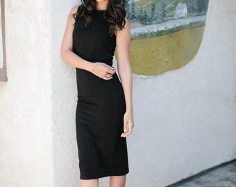 Sale Womens Evening Dress, Maxi Dress, Little Black Dress, Classic Black Midlength Dress,Black Dress, Made in USA, Cotton dress, Handmade