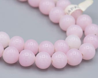 "Vintage Opal Pink Glass Japanese Beads 30 8mm on 8"" Strand SKU-VG-1"