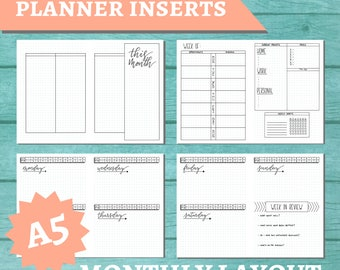 PRINTABLE A5 Traveler's Notebook Insert - Monthly Planner
