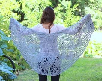Gray Shawl Knit Lace Shawl Knit Gray Wrap Crochet Shawl Knit Shawl Scarf Hand Knit Shawl Wedding Shawl Wedding Wrap Shawl Bridesmaids Shawl