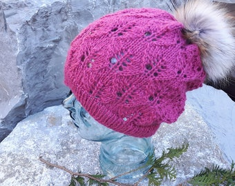 Baby Alpaca Ladies Lacy Hand Knit Slouch Hat With Over Sized Finnish Raccoon Authentic Fur Pompom Removable Super Sumptuously Soft Pink