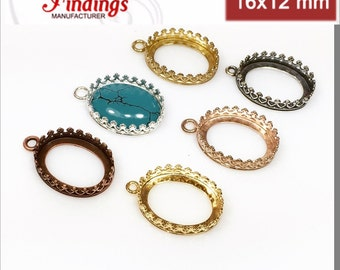 10pcs X Oval 16x12mm Quality Cast Crown Gallery Tray Bezel Setting ,Choose  Your Finish (
