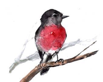 Rose robin bird watercolor, original watercolor artwork, bird painting