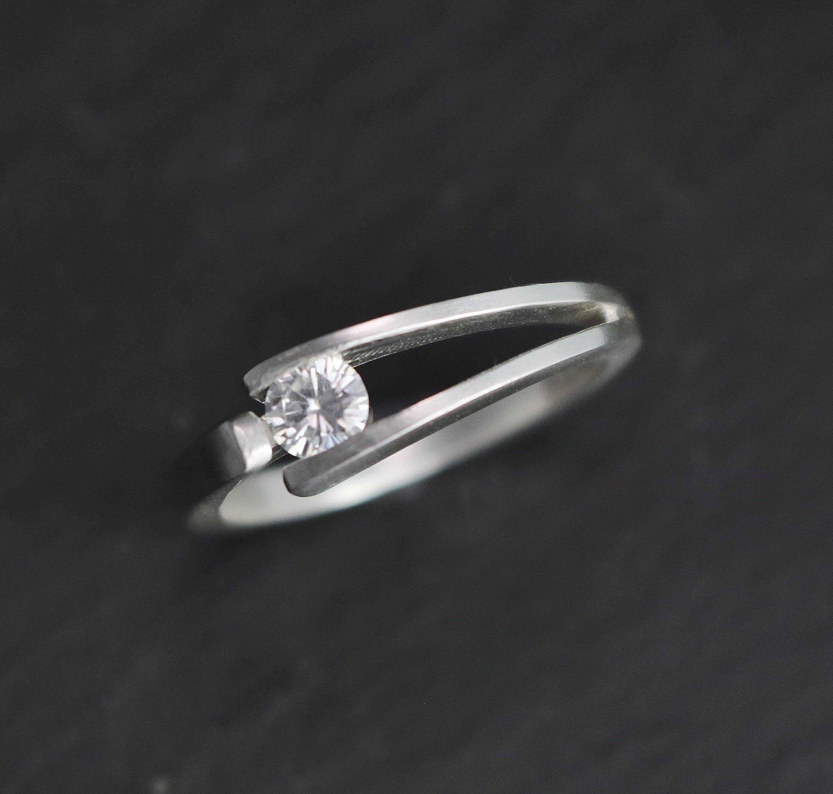 Tension Set 4mm Moissanite in Sterling Silver Ring Modern