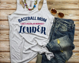 Funny Baseball Tanks - Baseball Mom Like a Regular Mom Only Louder - Tball Momlife Women's Racerback Tank