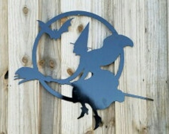 Halloween Witch Flying with a Bat/Metal Art