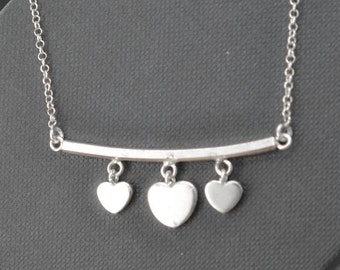 heart necklace, sterling silver necklace, mother daughter, best friend, sisters, necklace, initial necklace