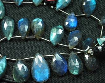 10 Inches, 15 Beads,Super Finest Blue Flash Labradorite  Faceted Pear Shape Briolettes Size,15-13mm aprx