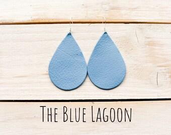 Genuine Leather Drop Earrings ~Blue~