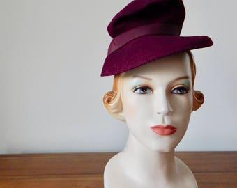 Vintage 1940s Slouch Hat - 40s Burgundy Hat
