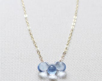 "light blue teardrop necklace, modern pretty necklace, pretty little necklace, alternative bridal jewelry - ""first light"" handmade necklace"