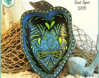 "Tiki Abstract Tribal Bowl Art, OOAK Gift, ""Soul Spot"" 1205"