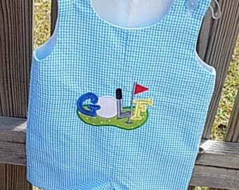 golf embroidered jon jon teal or aqua gingham  size 2T  lined with snaps