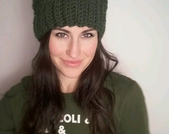 Oversized Forest Green Cabled Pom Pom Hat ***READY TO SHIP***